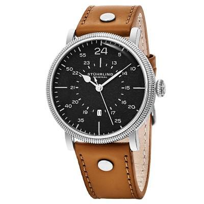 Stuhrling 656 02 Zeppelin Aviator Quartz Date Brown Leather Strap Mens Watch