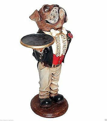 Butler Statue - Boxer Butler Statue - Dog Butler Holding a Serving Tray - 2 ft