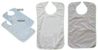 (2) Blue and (1) White Terry Adult Bibs with Vinyl Barrier (Pack of 3)
