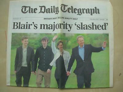 VINTAGE NEWSPAPER DAILY TELEGRAPH MAY 6th 2005 TONY BLAIR LABOUR WINS ELECTION