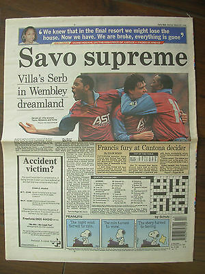 VINTAGE NEWSPAPER DAILY MAIL MARCH 25th 1996 ASTON VILLA WIN LEAGUE CUP