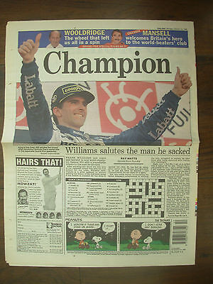 VINTAGE NEWSPAPER DAILY MAIL OCTOBER 14th 1996 DAMON HILL IS F1 WORLD CHAMPION