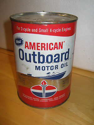 AMOCO American Outboard Motor GAS Oil Quart Can FULL  Great Litho     FREE SHIP