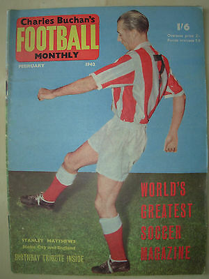 Football Monthly Magazine February 1962 Stanley Matthews - Manchester City