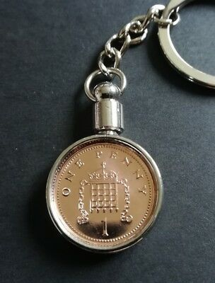 21st Birthday Gift 1998 Lucky Penny Keyring 1p UK, comes in a gift pouch