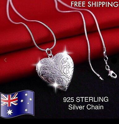 925 Sterling Silver Love Heart Photo Picture Frame Locket Pendant Charm Necklace