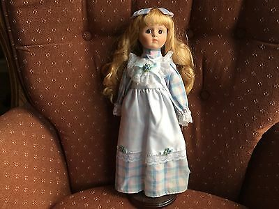 """Porcelain Doll 16"""" on Wooden Stand Blonde Hair Gingham Dress with Pinafore"""
