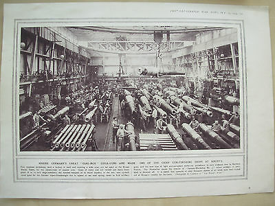A Page Ww1 Illustrated War News 1914 German Machine Shop Factory At Krupp's