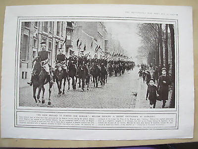 A Page Ww1 Illustrated War News 1914 Belgian Cavalry At Charleroi