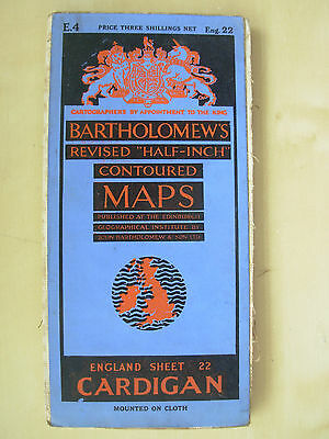 Vintage Bartholomews Contoured Map Sheet 22 Cardigan Cloth Edition