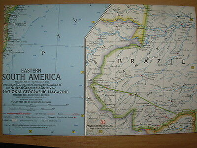 Vintage National Geographic Map 1962 Eastern South America