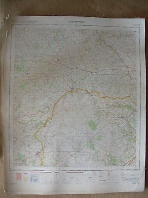 OKEHAMPTON LARGE OS WALL MAP 1in LINEN BACKED 1971