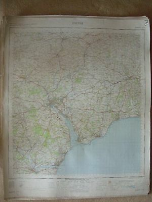EXETER LARGE OS WALL MAP 1in LINEN BACKED 1960