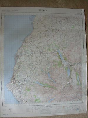 KESWICK LARGE OS WALL MAP 1in LINEN BACKED 1965