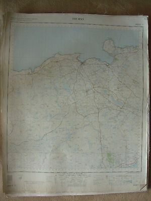 THURSO LARGE OS WALL MAP 1in LINEN BACKED 1959