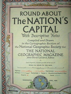 Vintage National Geographic Map 1956 Round About The Nation's Capital Usa