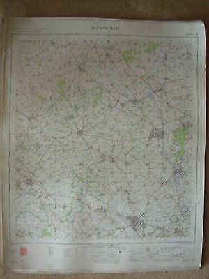 BUCKINGHAM LARGE OS WALL MAP 1in LINEN BACKED 1968