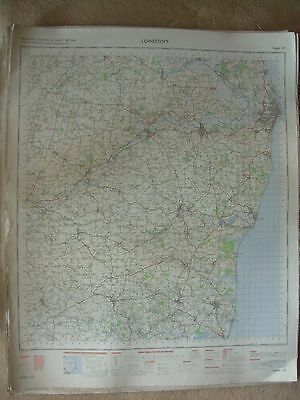 LOWESTOFT LARGE OS WALL MAP 1in LINEN BACKED 1969