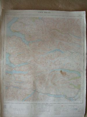 LOCH ARKAIG LARGE OS WALL MAP 1in LINEN BACKED 1956