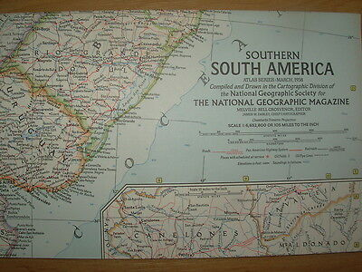 Vintage National Geographic Map 1958 Southern South America