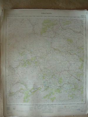 STRATHDON LARGE OS WALL MAP 1in LINEN BACKED 1958