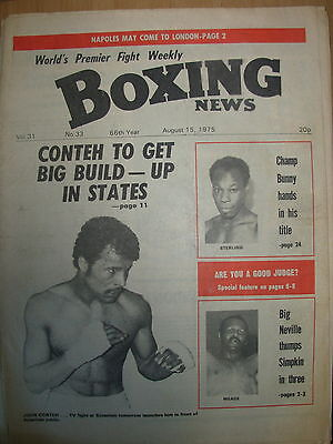 BOXING NEWS AUGUST 15 1975 JOHN CONTEH v WILLIE TAYLOR - FIGHT PREVIEW