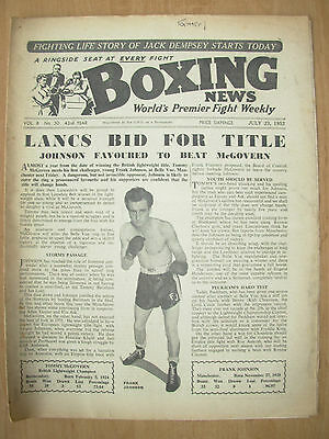 VINTAGE BOXING NEWS MAGAZINE JULY 23rd 1952 TOMMY McGOVERN v FRANK JOHNSON