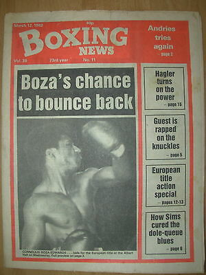 BOXING NEWS MARCH 12 1982 CORNELIUS BOZA-EDWARDS v CARLOS HERNANDEZ  PREVIEW