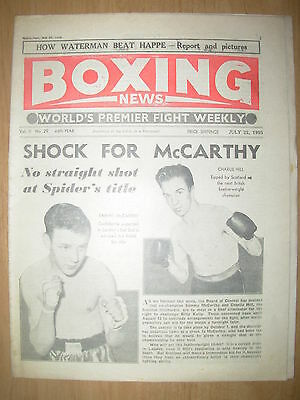 VINTAGE BOXING NEWS MAGAZINE JULY 22nd 1955 SAMMY McCARTHY v CHARLIE HILL