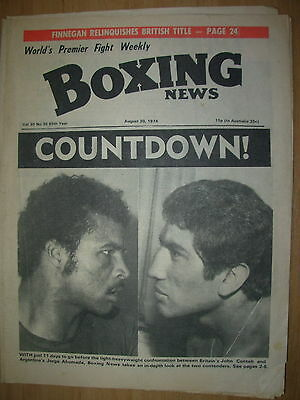 BOXING NEWS AUGUST 30 1974 JOHN CONTEH v JORGE AHUMADA FIGHT PREVIEW