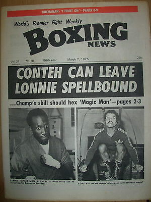BOXING NEWS MARCH 7 1975 JOHN CONTEH v LONNIE BENNETT - FIGHT PREVIEW
