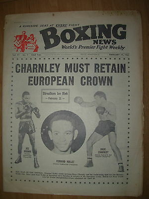 BOXING NEWS FEBRUARY 17 1961 DAVE CHARNLEY v FERNAND NOLLET - FIGHT PREVIEW