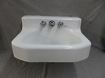 Narrow Antique Cast Iron White Porcelain Bathroom Wall Mount Sink Kohler 175-17E