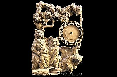 3D STL Models for CNC Router Engraver Carving Artcam Aspire Bear Clock 1601