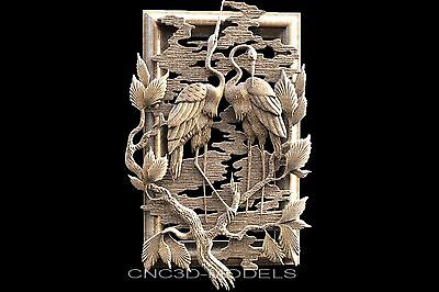 3D STL Models for CNC Router Engraver Carving Artcam Aspire Birds Pano 1602