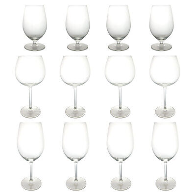 12pc Royal Leerdam Wine Glass Set Wholesale Bulk Lot 3 Types Red White Water