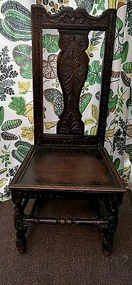 18th C OLD ENGLISH COUNTRY CHAIR. OAK. CARVED