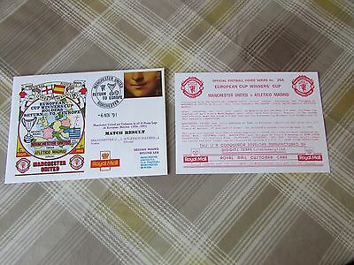 MANCHESTER Utd v ATHLETICO Madrid 1991 Return to Europe FOOTBALL First Day Cover