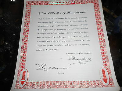 Vintage Atlantic Richfield Gasoline Oil Company guarantee form