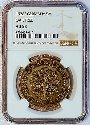 1928 F Germany 5 Marks Oak Tree NGC Graded AU 53 Coin (LV#A)