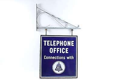 Antique Telephone Office Connections Bell System Porcelain Advertising Sign