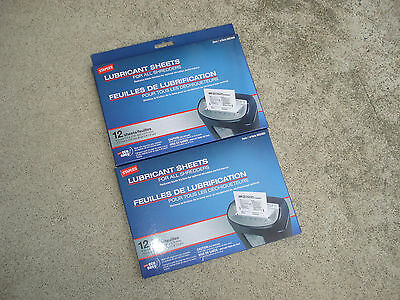 LOT 2 Staples Shredder Lubricant Sheets 12/pk Shredder Sheets Paper Shredder