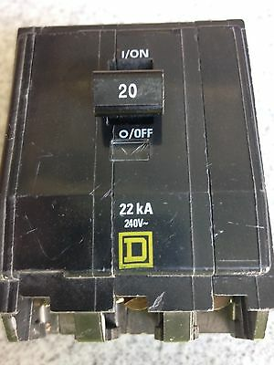 Square D Qob320Vh 3 Pole 20 Amp 22K Bolt-On Circuit Breaker