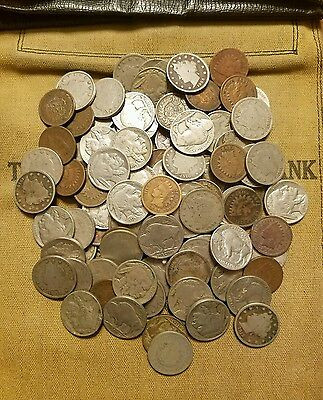 Old US Coin Estate Lot Buffalo, V Liberty Nickels & Indian Penny Cent Antique