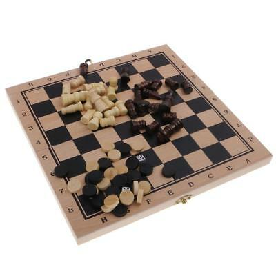 3 in 1 Wooden Board Backgammon Game Set Chess Draughts Classic Party Favor S