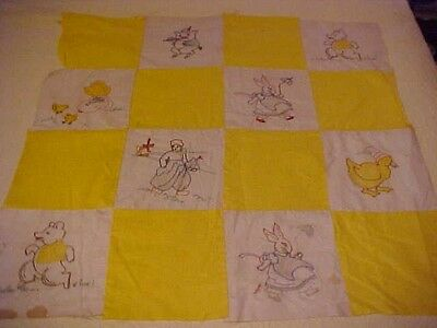 Vintage Children's Quilt Top w/ Embroidered Animals & Yellow Squares