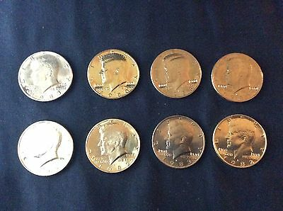Rare - Lot Of Eight (8) - 24K Gold Plated Double Stamped US Half Dollars