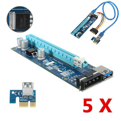 5pcs PCI-E Express 1x to 16x Extender Riser Card Adapter SATA USB3.0 Power Cable