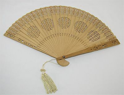 "Vintage Ornate Carved Cut Out Bamboo Wooden Hand Fan - 13 1/2"" W x 8"" H"
