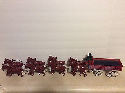 RARE Vintage Cast Iron Horse and Carriage Clydesdale A. Busch Budweiser Wagon!